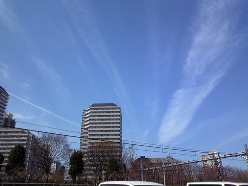 放射状に伸びる雲